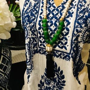 Tassel Green and Cream Stone Necklace
